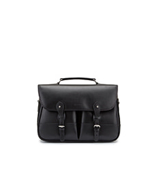Clipper Leather Satchel Black Miret