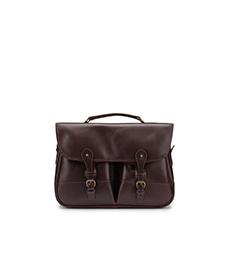 Clipper Leather Satchel Dark Brown Miret Bridle