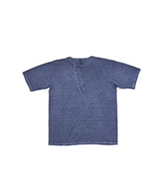 50's Diagonal Henley S.Sleeve Pigment Blue