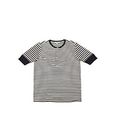 2M07 Stripe Henley S.Sleeve Charcoal/Nature