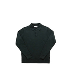 Long Sleeve Merino Polo Bottle Green