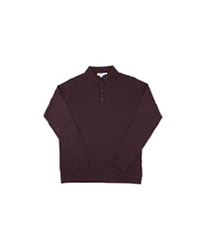 Long Sleeve Merino Polo Mosto Brown