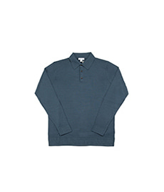 Long Sleeve Merino Polo Dark Petrol