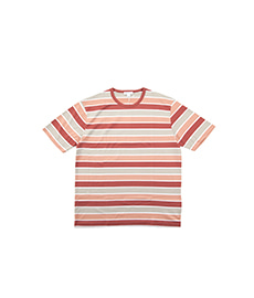 Short Sleeve Classic Crew Neck Brick/Taupe/Clay/White Stripe