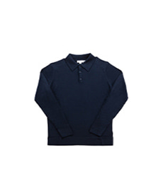Long Sleeve Merino Polo Light Navy
