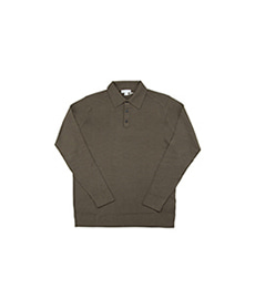 Long Sleeve Merino Polo Military Green