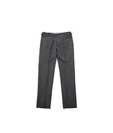 Double Pleats Pants Grey Covert Cloth
