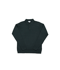 Long Sleeve Merino Polo Forest