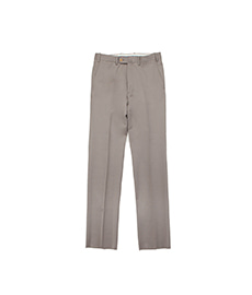 William Flat Front Wool Trousers Khaki Beige