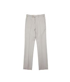 William Flat Front Wool Trousers Grey Beige