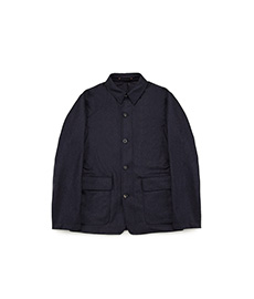The Wool Shacket Navy Stripe