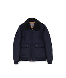 Wool Doeskin Flight Jacket Navy
