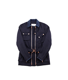 Twin Track Field Jacket Melton Wool Navy